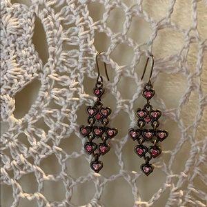 Anthropologie Crystal Heart Chandelier Earrings